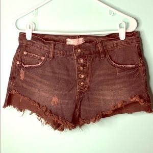 Free people button fly destroyed denim shorts